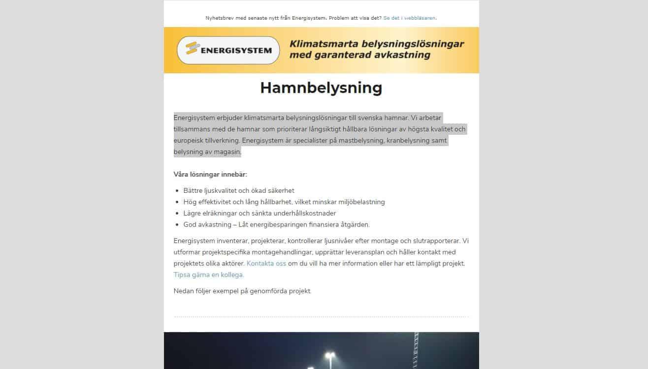 Nyhetsbrev: Hamnbelysning