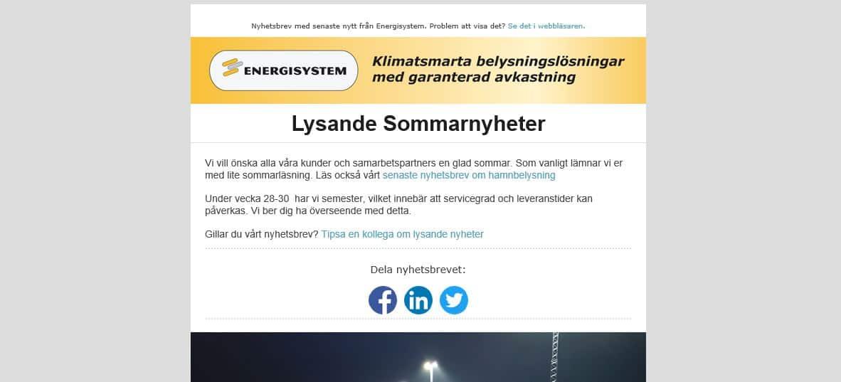 Nyhetsbrev: Lysande sommarnyheter från Energisystem