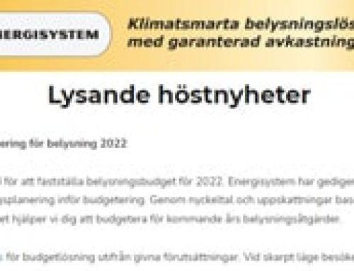 Nyhetsbrev: Budgetplanering för belysning 2022